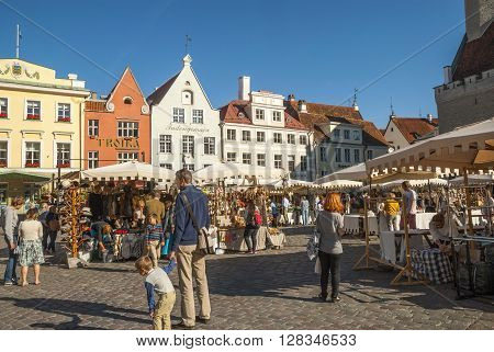 Medieval Market In Tallinn Old Town Square, Estonia