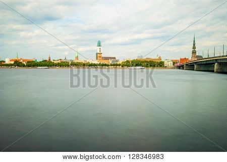 View On Riga City Over Still River