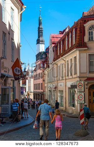 People Walking In Tallinn Oldtown, Estonia