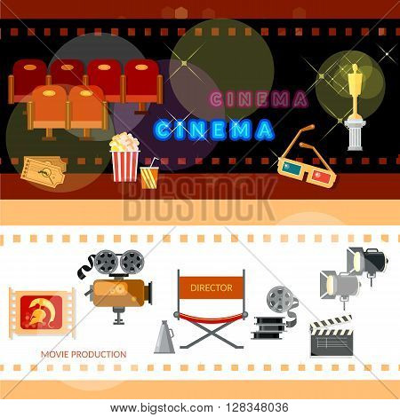 Cinema banners cinema collection festival movie tickets clapper popcorn awards ceremony