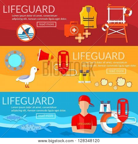 Lifeguards banner professional lifeguard on the beach vector illustration