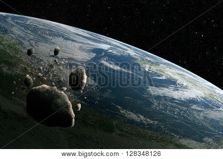 Big asteroid and many others orbiting planet Earth. High resolution scientific illustration created from scratch.
