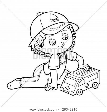 Coloring Book. Little Boy Plays With Ambulance Car