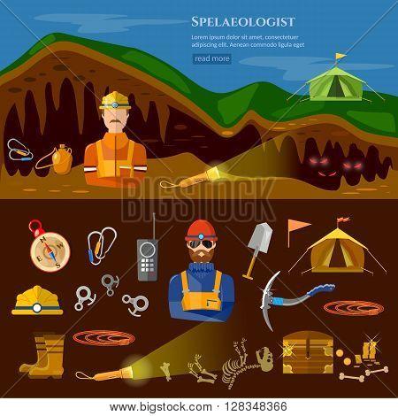 Speleology spelunker banners study of underground caves vector illustration