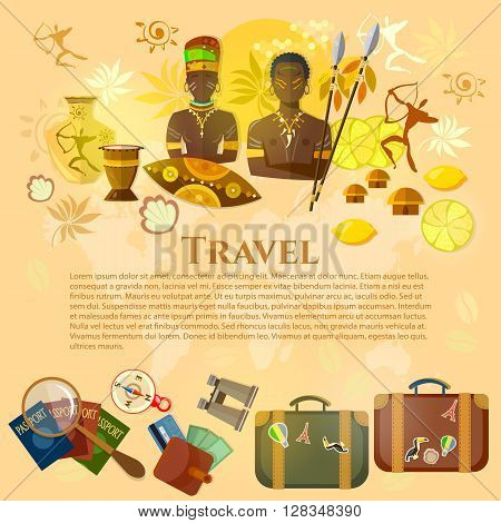 Travel to Africa banner Africa culture and traditions suitcase compass passport travel background vector illustration