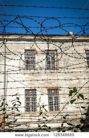 Close-up Of Barbed Wire Of Soviet Old Jail In Tallinn