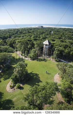 Birds eye view of tower building in wooded park at Bald Head Island, North Carolina.