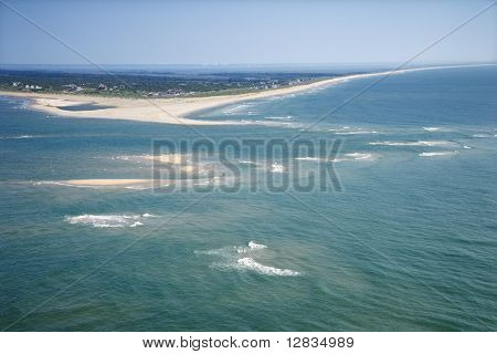 Scenic aerial seascape of beach and island at Baldhead Island, North Carolina.
