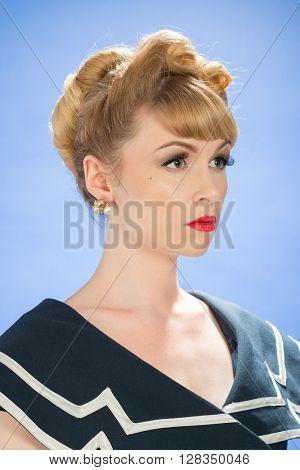 Vintage woman wearing pearl earrings