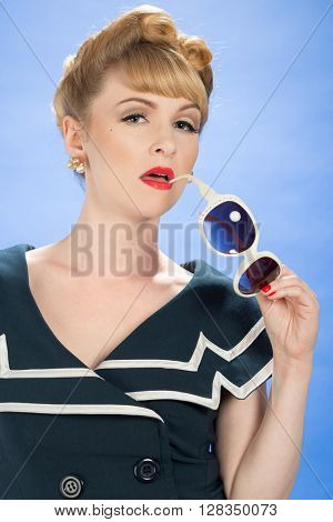 Pin up girl with sunglasses