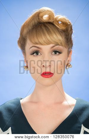Vintage woman with victory roll curls hairstyle