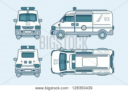 Set stock vector illustration isolated ambulance car top, front, side, back view line style white background Element info graphic, website, icon