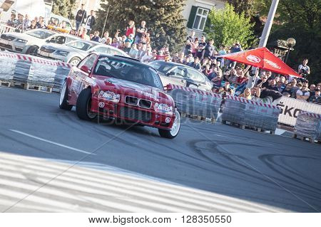 SIBIU, ROMANIA - APRIL 16: Unidentified competitor during Rally of Romania 2016 National Championship