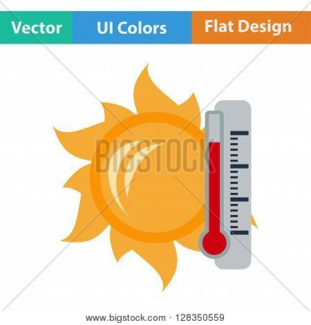 Icon Of Sun And Thermometer