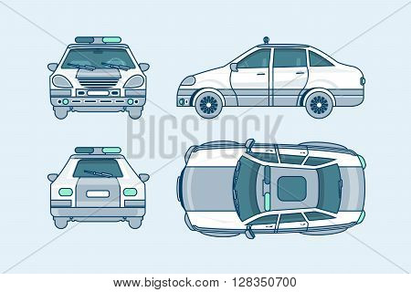 Set stock vector illustration isolated police car top, front, side, back view line style white background Element info graphic, website, icon