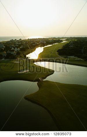 Aerial view of coastal golf course on Bald Head Island, North Carolina.