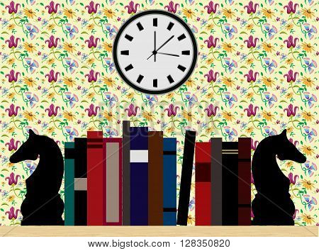 An illustration of a bedroom bookshelf with wallpaper background and a clock overhead
