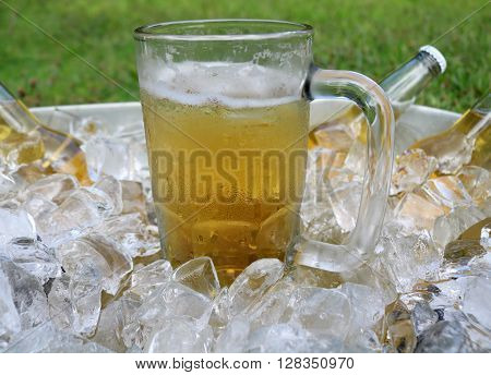 Beer mug centered in ice bucket with beer bottles in ice.