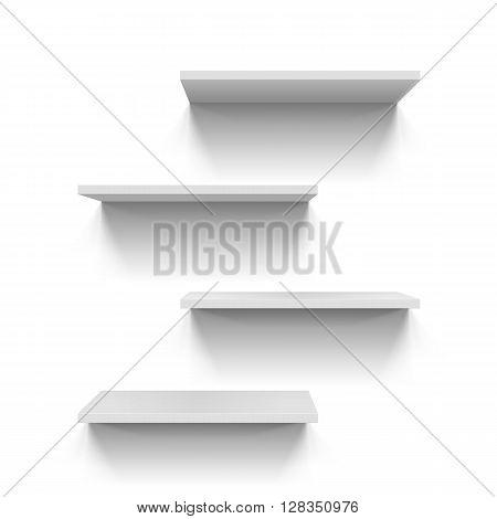 Horizontal gray bookshelves on white background for design