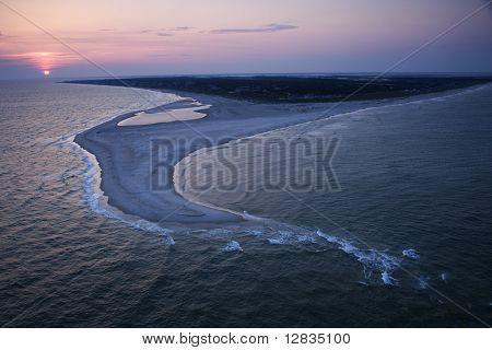 Aerial of east coast island beach of Bald Head Island, North Carolina.