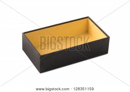 Cardboard Tray Or  Dark Brown Paper Package Tray Isolated With Soft Shadow On White Background