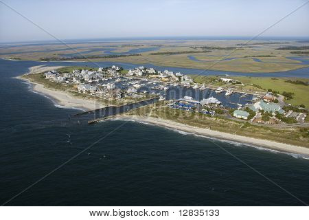 Aerial view of marina on Bald Head Island, North Carolina.
