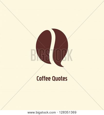 Coffee bean symbol template.Creative logo design idea for coffee related web site or blog. Business icon vector layout. Chat bubble, coffee bean and initial Q.