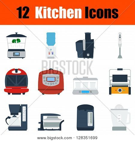 Flat Design Kitchen Icon Set