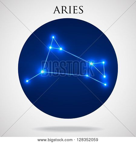 Constellation aries zodiac sign isolated on white background, vector illustration