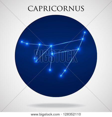 Constellation capricornus zodiac sign isolated on white background, vector illustration