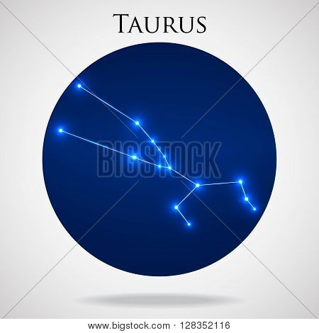 Constellation taurus zodiac sign isolated on white background, vector illustration