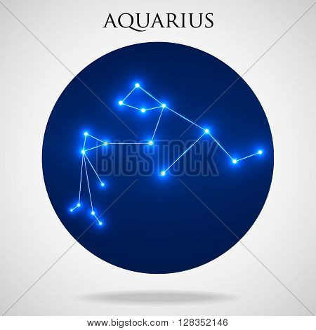 Constellation aquarius zodiac sign isolated on white background, vector illustration