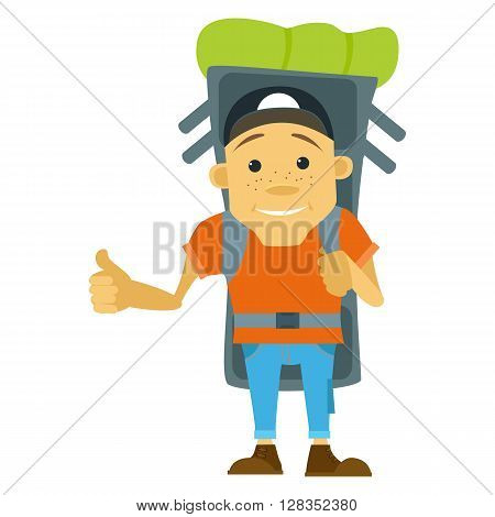 Vector illustration in flat style. Hitchhiker and tourist. Young man hitchhiker tourist with large backpack. Hitchhiker and traveler shows gesture hitchhiking