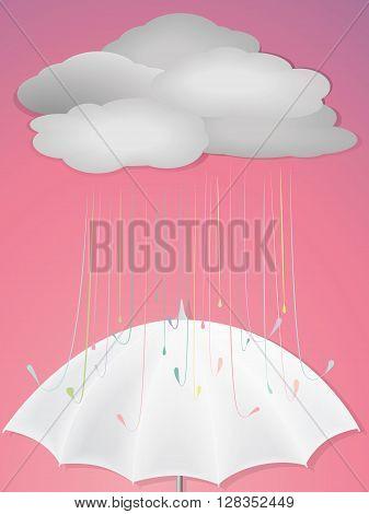 vector illustrator of raindrops on white umbrella