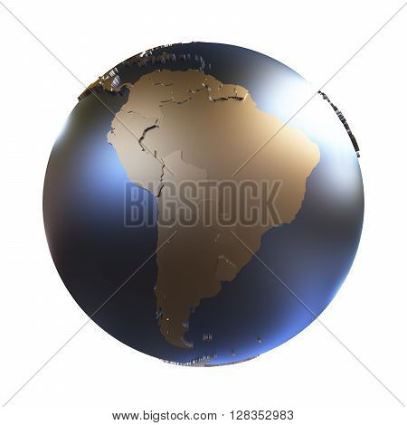 South America On Golden Metallic Earth