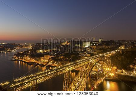 View on Porto in Portugal in the evening