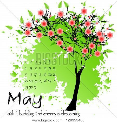 Abstract nature background with blooming tree and sample of dates – Calendar Sample Design