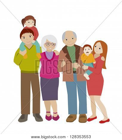 Large family portrait. Parents and children.Grandparents and grandchildren. Flat cartoon vector. Happy extended family.