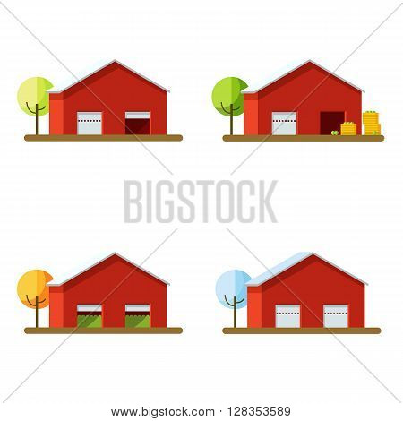 Set different seasons harvesting. Vector illustration of harvesting and storage. Storage for the harvest.The red storage building in different seasons