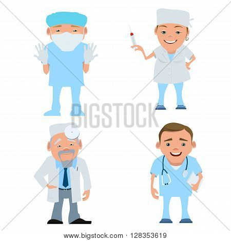 Vector illustration of a doctor in uniform. Cartoon happy smiling doctor isolated. Seth doctors and nurses with stethoscope mask and syringe. Doctor therapist. Doctor surgeon. Doctor otolaryngologist