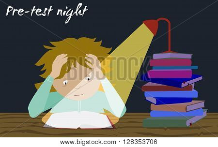 Examination test preparation. Exam student stress. Last night before exams. Cartoon vector. Girl studying.