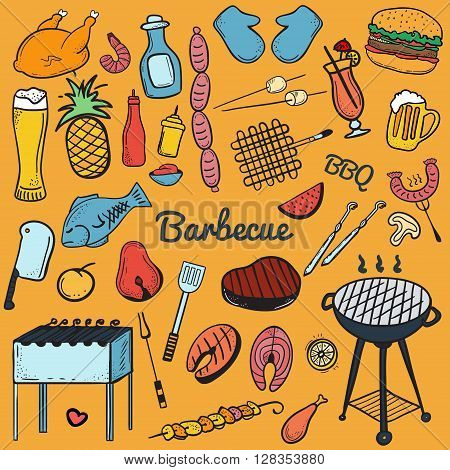 Colorful vector hand-drawn Doodle of Grill and BBQ. Vector illustration of grill and BBQ equipment. Icons for web mobile and print. Barbecue logos and icons
