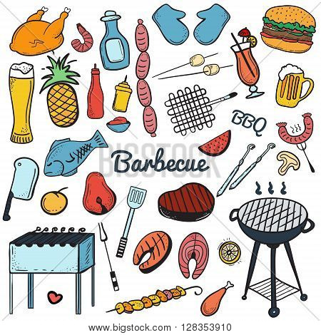 Colorful vector hand drawn Doodle of Grill and BBQ. Vector illustration of grill and BBQ stuff. Icons for web mobile and print. Barbecue logos and icons