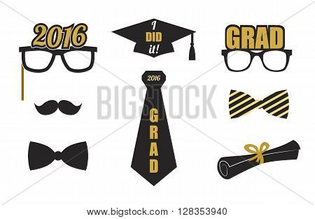 Graduation 2016 elements set. Collection of gold and black icons for graduation party or ceremony invitation, greeting card design. Vector flat. Glasses, graduation hat, and diploma, tie.