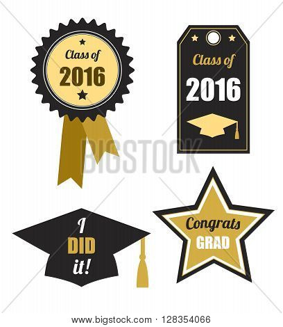 Graduation logos set. Class of 2016. Collection of gold and black icons for graduation party or ceremony invitation, greeting card design. Vector flat. Logos and labels.