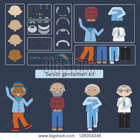 Set of senior citizens. Flat cartoon vector. Elderly men constructor.