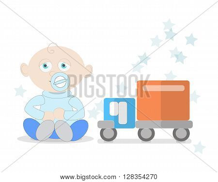 Baby boy with car toy. Small child with pacifier. Happy and sweet little kid in diaper. Boy with toy truck on white background.