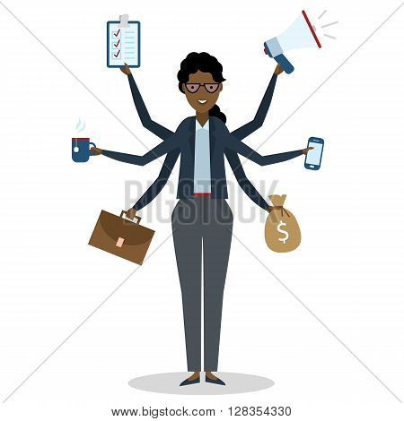 Multitasking african american businesswoman with six hands standing on white background. Successful businesswoman. Workaholic. Talented and professional. Leadership.