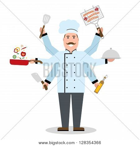 Multitasking chef with six hands standing on white background and holding a meal, knife, paddle, pan with vegetabes, oil and barbeque. Successful cook. Restaurant chef. Skillful and talented
