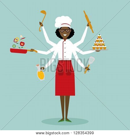 Multitasking female african american chef with six hands standing on white background and holding a  cake, ladle, paddle, pan with vegetabes, oil and rolling pin. Successful cook. Restaurant chef.
